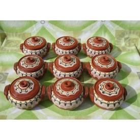 Глинено Гювечe -за една порция 650 мл. Троянска шарка. - Троянски ръчно изработен глинен съд