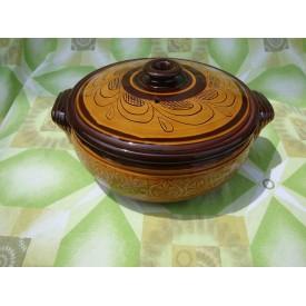 Глинен Гювеч 7 литра гравиран- Троянски ръчно изработен глинен съд